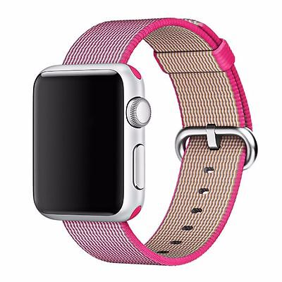 38mm Pink Sports Royal Woven Nylon Strap Band for Apple Watch Series 3 /2 /1