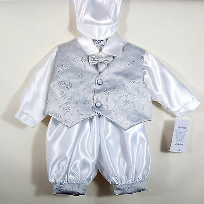 Baby Boy White Silver Satin Christening Wedding Outfit Suit Age 0-3 12-18 Months