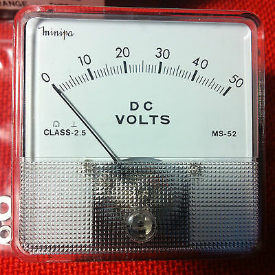 Minipa MS 52 Voltmeter 0-50V DC classic Analogue Panel Volt Meter Analog