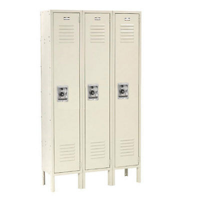 Single Tier Locker, 15x18x72 3 Door, RTA, Tan, Lot of 1