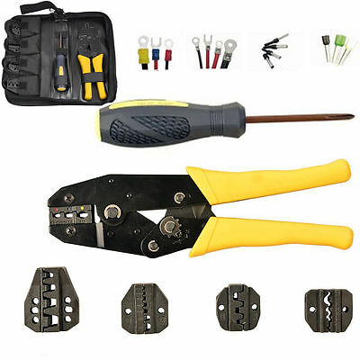 Ratcheting Insulated Terminals Ferrules Crimping Plier Cable Crimper Tool Kit US