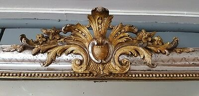 Large Antique French Silver Gilded Mirror