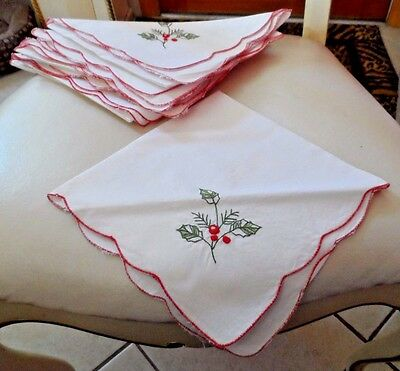 Set of 8 White Christmas napkins with embroidered holly leaves and red berries