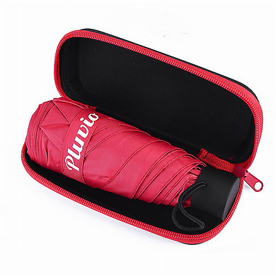 Travel Mini Umbrella Case Lightweight Ultra Small Pocket Size UV Waterproof Red