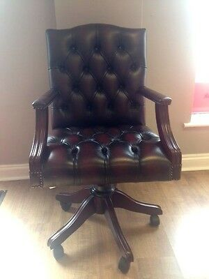 Oxblood Red Leather Chesterfield Gainsborough Captains Directors Office Chair