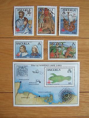 ANGUILLA 1986 COLUMBUS DISCOVERY OF AMERICA SET OF 5v & MINIATURE SHEET MNH MINT