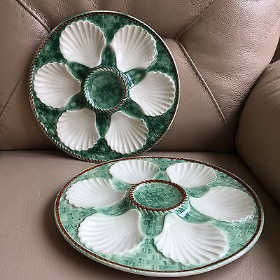 Vintage Retro French  Pair 2 Ceramic Green Cream Oyster Plates Platters