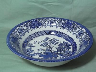 """Old Willow Pattern Salad Serving Bowl 8½"""" English Ironstone Pottery Blue & White"""