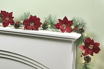 6ft Red Poinsettia Light Up Christmas Garland with 30 LED Lights