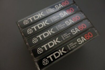5x TDK SA 60 Chrome Kassetten Audio cassettes tapes type II