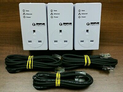 3 x BT Simpler Networks Plc 200mbps Mini Passthrough Powerline Adapter Homeplug