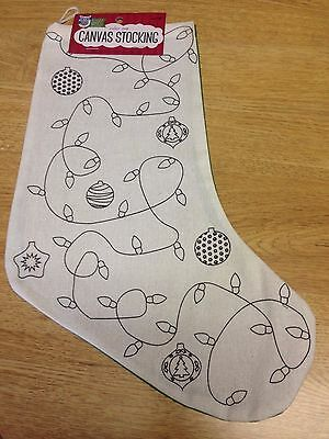 Color Me Canvas Christmas Stocking Lights and Ornaments Bright Minds Nicole New