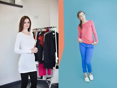 Ladies/Womens Long Line Touch T-Shirt (Long Sleeve) SK260