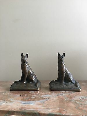 Pair Of Art Deco Bronze German Sheppard Book Ends- Austrian  Mid Century