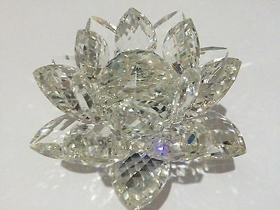 Nice Large Clear CRYSTAL LOTUS Flower Ornament Spin system & Gift Box Home Decor