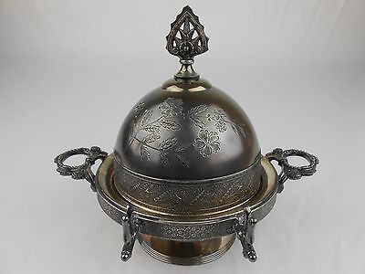 Antique Rogers & Smith Meridenci Quadruple Silver Plate Butter Dome Server 4984
