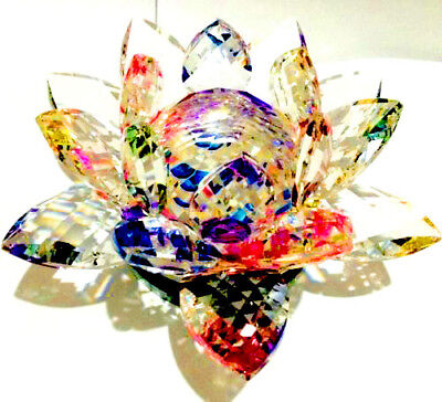 Large Multi Colours Crystal Lotus Flower Ornament With Giftbox  Crystocraft Home