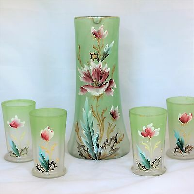 Antique Victorian hand painted lemonade set hand blown glass Pitcher & Tumblers