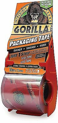 Gorilla Packaging Tape 32m X 72mm Tape Dispenser Incredibly Strong CLEAR