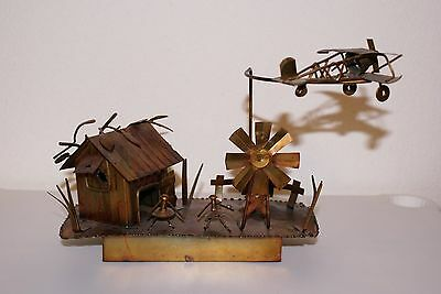 Vintage ~ Musical Copper Box made in Hong Kong ~ Bi-Plane Airplane Circles Hut