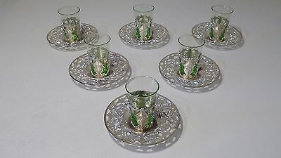 6 Vintage Turkish Style Small Coffee Glasses with White Metal Holders & Saucers