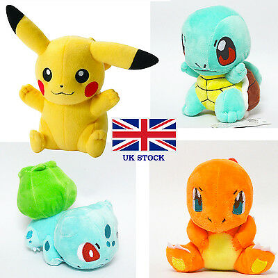 UK Kids Girls Pokemon 4pcs Plush Soft Toys Pikachu Bulbasaur Squirtle Charmander