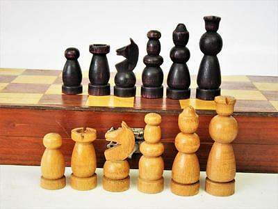 VINTAGE ART DECO GERMAN? CHESS SET King 63 mm + FOLDING BOARD
