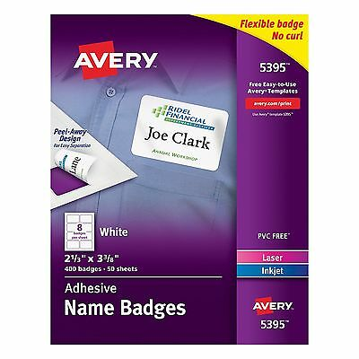 Avery Adhesive Name Badges 2.33 x 3.38 Inches White Box of 400 (05395)
