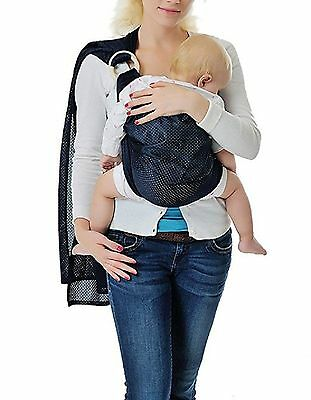 Cuby Adjustable Ring Sling Water sling Wrap Carrier for Newborn Baby (Deep Bl...