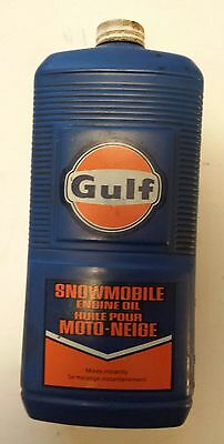 """Rare Canadian """"gulf Snowmobile Engine Oil"""" 32 Oz Empty Container"""