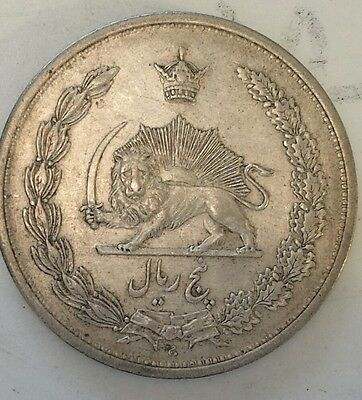 """""""1312 Persia 5 Ryals"""" Silver (.828) Coin Vf - Xf Condition - Not Prof.  Graded"""