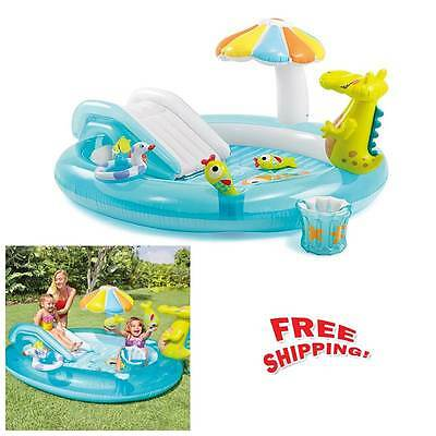 Inflatable Paddling Pool Play Centre Garden Activity Swimming Pool With Slide Uk