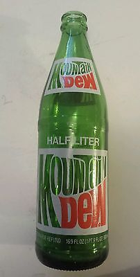 "Scarce, Canadian ""mountain Dew"" Half Litre Embossed Green Bottle-Red & White Acl"