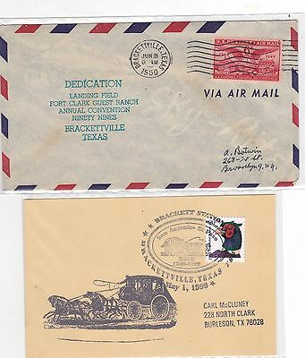 Brackettville TEXAS 1950 Airport Dedication + 1 other Cover Butterfield Station