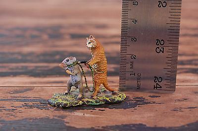 "Vintage / Antique Vienna Bronze Miniature Anthropomorphic ""Cat Captured Mouse"""