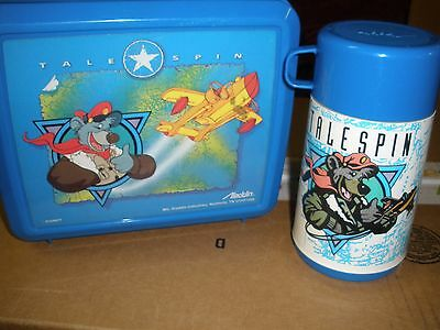 1990 Aladdin Disney Tale Spin Blue Plastic Lunchbox & Thermos