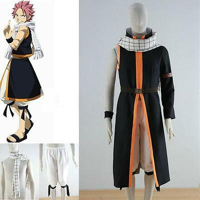 Anime Fairy Tail Natsu Dragneel Cosplay Costumes Jacket+Pants+Scarf+belts+wrist