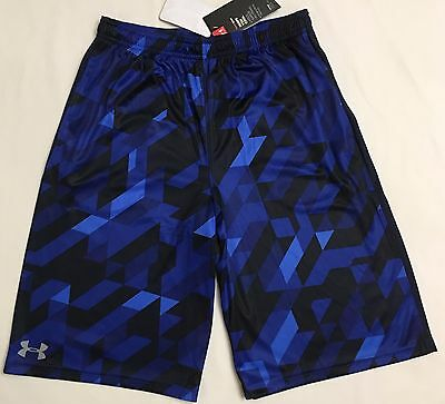 NWT youth Boys' YXL X-large UNDER ARMOUR shorts all season loose black/blue CAMO
