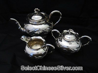 Antique Chinese Export Solid Silver Tea Set, 4 Claw Dragons, Po Cheng,  c1900
