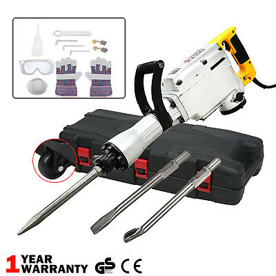 1800W Electric Demolition Hammer Drill Concrete Breaker 3 Chisels Jackhammer