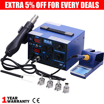 WEP 2 in 1 Soldering Iron Station Hot Air Gun Desoldering Digital Dual LED