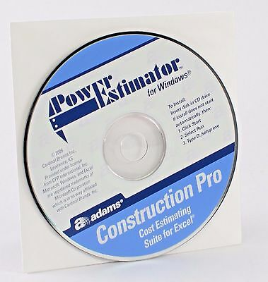 Adams Construction Pro Power Estimator for Windows Cost Estimating Excel F12