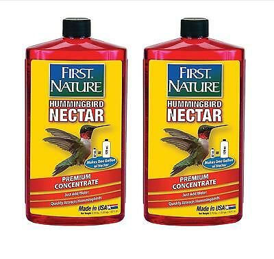 2 Pk First Nature 3054 Red Hummingbird Nectar  2- 32 Oz Concentrate Makes 2 Gal