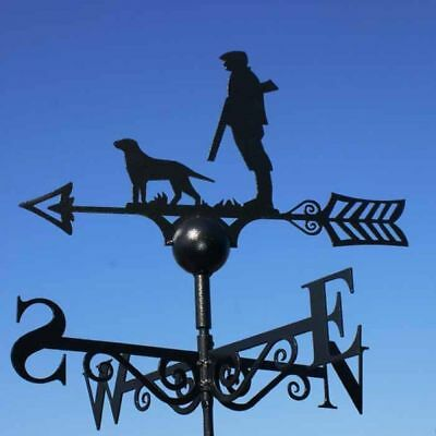 Poppy Forge British Made Man and Hunting Dog Figure Steel Weathervane