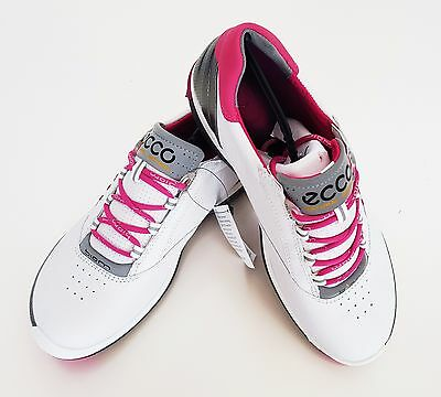 New ECCO Womens BIOM Hybrid 2 Golf Shoes – White/Candy(120213-57676)