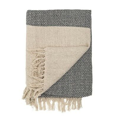 Bloomingville Decke Zick Zack creme grau Baumwolle Plaid Wolldecke Throw
