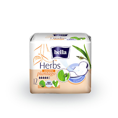 Pl/ Bella Herbs Sanitary Towels Sensitive Intimate Skin/ Thin 4mm /No Perfume