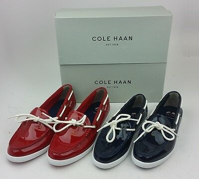 In Box COLE HAAN Womens' Nantucket Camp Moc Patent Leather Boat Shoes Red Navy