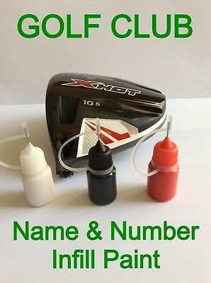 Golf club name & number infill paint 5ml Callaway, Ping, TaylorMade, Titleist