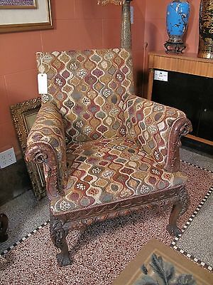 Antique Upholstered 18th Century CARVED Wood English CHAIR Excellent Condition